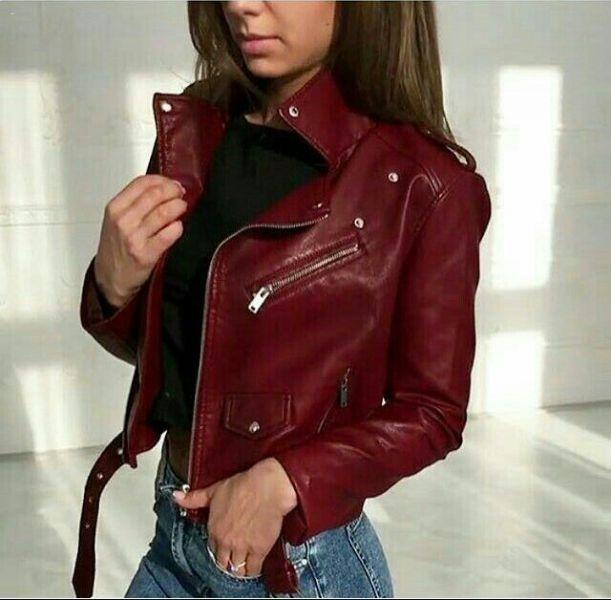 Модная женская кожаная куртка FF